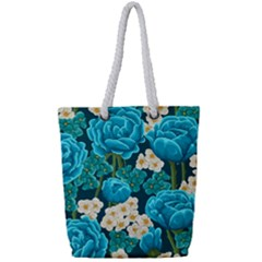 Light Blue Roses And Daisys Full Print Rope Handle Bag (small)