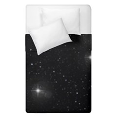 Starry Galaxy Night Black And White Stars Duvet Cover Double Side (single Size) by yoursparklingshop