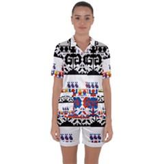 Bulgarian Folk Art Folk Art Satin Short Sleeve Pyjamas Set by Celenk