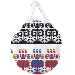 Bulgarian Folk Art Folk Art Giant Round Zipper Tote by Celenk