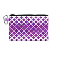 Pattern Square Purple Horizontal Canvas Cosmetic Bag (medium) by Celenk