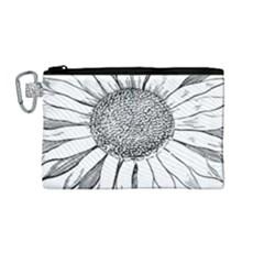 Sunflower Flower Line Art Summer Canvas Cosmetic Bag (medium) by Celenk