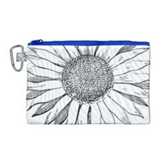 Sunflower Flower Line Art Summer Canvas Cosmetic Bag (large) by Celenk