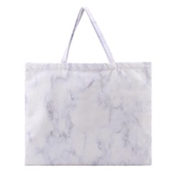 Marble Texture White Pattern Zipper Large Tote Bag by Celenk