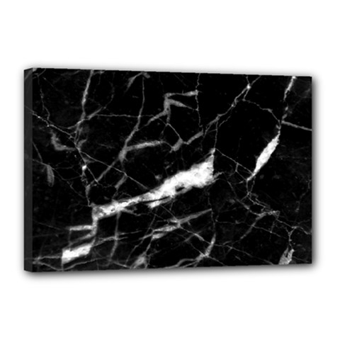 Black Texture Background Stone Canvas 18  X 12  by Celenk