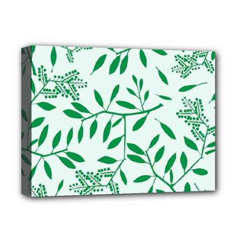 Leaves Foliage Green Wallpaper Deluxe Canvas 16  X 12   by Celenk