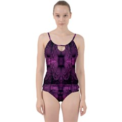 Fractal Magenta Pattern Geometry Cut Out Top Tankini Set