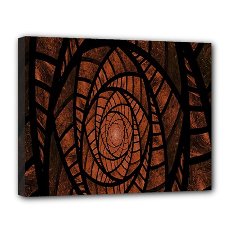 Fractal Red Brown Glass Fantasy Canvas 14  X 11  by Celenk