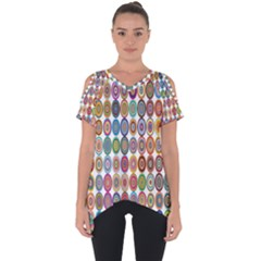 Decorative Ornamental Concentric Cut Out Side Drop Tee