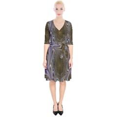 Fractal Waves Whirls Modern Wrap Up Cocktail Dress