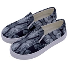 Fractal Blue Lace Texture Pattern Kids  Canvas Slip Ons by Celenk