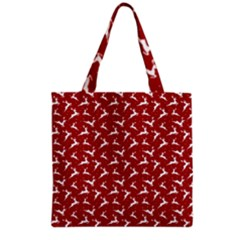 Red Reindeers Grocery Tote Bag by patternstudio