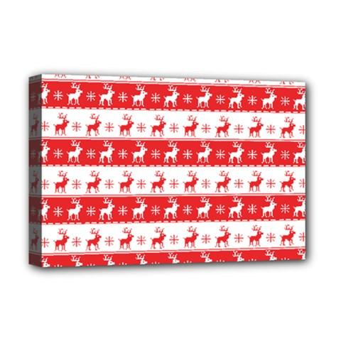 Knitted Red White Reindeers Deluxe Canvas 18  X 12   by patternstudio