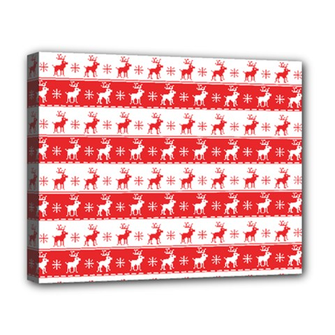 Knitted Red White Reindeers Deluxe Canvas 20  X 16   by patternstudio