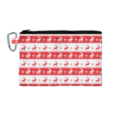 Knitted Red White Reindeers Canvas Cosmetic Bag (medium) by patternstudio