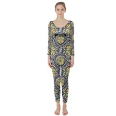 Beveled Geometric Pattern Long Sleeve Catsuit by linceazul