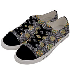 Beveled Geometric Pattern Men s Low Top Canvas Sneakers by linceazul