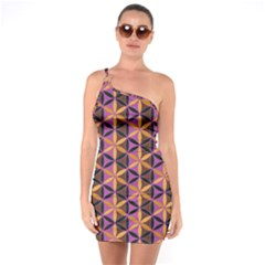 Flower Of Life Purple Gold One Soulder Bodycon Dress by Cveti