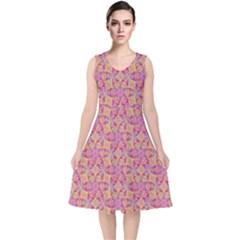Kaledoscope Pattern  V Neck Midi Sleeveless Dress  by Cveti