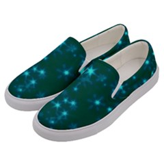 Blurry Stars Teal Men s Canvas Slip Ons by MoreColorsinLife