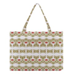 Striped Ornate Floral Print Medium Tote Bag by dflcprints