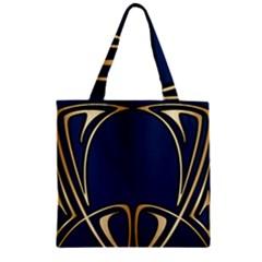 Art Nouveau,vintage,floral,belle Époque,elegant,blue,gold,art Deco,modern,trendy Zipper Grocery Tote Bag by 8fugoso