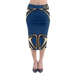 Art Nouveau,vintage,floral,belle ¨|poque,elegant,blue,gold,art Deco,modern,trendy Midi Pencil Skirt by 8fugoso