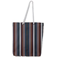 Pear Blossom Teal Orange Brown Coordinating Stripes  Full Print Rope Handle Tote (large) by ssmccurdydesigns