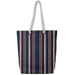 Pear Blossom Teal Orange Brown Coordinating Stripes  Full Print Rope Handle Bag (small) by ssmccurdydesigns