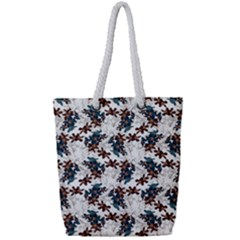 Pear Blossom Teal Orange Brown  Full Print Rope Handle Bag (small) by ssmccurdydesigns