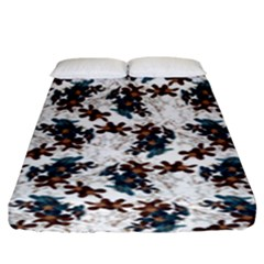 Pear Blossom Teal Orange Brown  Fitted Sheet (king Size) by ssmccurdydesigns