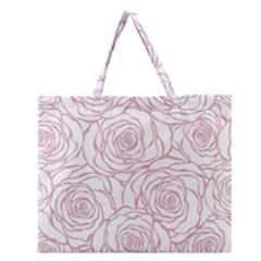 Pink Peonies Zipper Large Tote Bag by 8fugoso