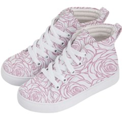 Pink Peonies Kid s Hi Top Skate Sneakers by 8fugoso