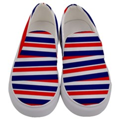 Red White Blue Patriotic Ribbons Men s Canvas Slip Ons