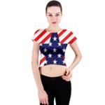 Patriotic Usa Stars Stripes Red Crew Neck Crop Top