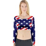 Patriotic Usa Stars Stripes Red Long Sleeve Crop Top