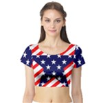 Patriotic Usa Stars Stripes Red Short Sleeve Crop Top