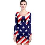 Patriotic Usa Stars Stripes Red Long Sleeve Bodycon Dress