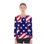 Patriotic Usa Stars Stripes Red Women s Long Sleeve Tee