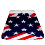 Patriotic Usa Stars Stripes Red Fitted Sheet (Queen Size)