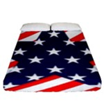 Patriotic Usa Stars Stripes Red Fitted Sheet (King Size)
