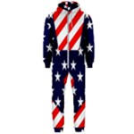 Patriotic Usa Stars Stripes Red Hooded Jumpsuit (Men)