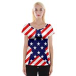 Patriotic Usa Stars Stripes Red Cap Sleeve Tops