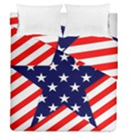 Patriotic Usa Stars Stripes Red Duvet Cover Double Side (Queen Size)
