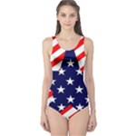 Patriotic Usa Stars Stripes Red One Piece Swimsuit
