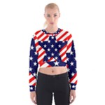 Patriotic Usa Stars Stripes Red Cropped Sweatshirt