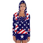 Patriotic Usa Stars Stripes Red Long Sleeve Hooded T-shirt