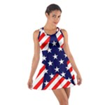 Patriotic Usa Stars Stripes Red Cotton Racerback Dress