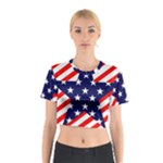 Patriotic Usa Stars Stripes Red Cotton Crop Top