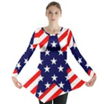 Patriotic Usa Stars Stripes Red Long Sleeve Tunic